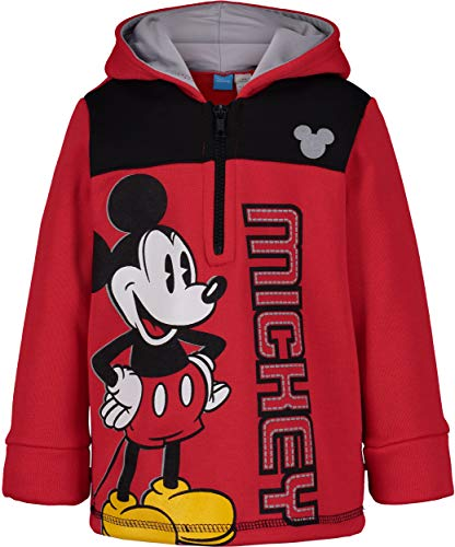 Disney Mickey Mouse Little Boys Fleece Hoodie Pullover Sweatshirt Zipper, Red (7) (Disney Jackets)