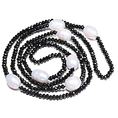 Bang-pa Luxury 11-12MM Rice Pearl & 4mm Crystal Necklace White Black Jewelry 90cm Long Pearl - Outlet Store Online Versace