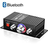 DUTISON Wireless Bluetooth Home Audio Amplifier, Home Speakers Bass and Treble Control 60W Dual Channel Mini Portable Power Stereo Sound Receiver w/Speaker Selector, RCA, AUX, LED, 12V Adapter