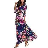 Womens Summer 3/4 Sleeve V Neck Floral Print Wrap Maxi Long Dresses...