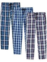 AjezMax Men's Pajama Bottoms Cotton Plaid Lounge Pants Long Sleepwear Pack
