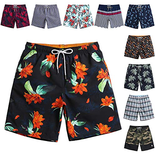 MaaMgic Quick Dry Swim Trunks with Mesh Lining Bathing Suits for Mens Slim Fit Beach Surfing Shorts Swimwear ()