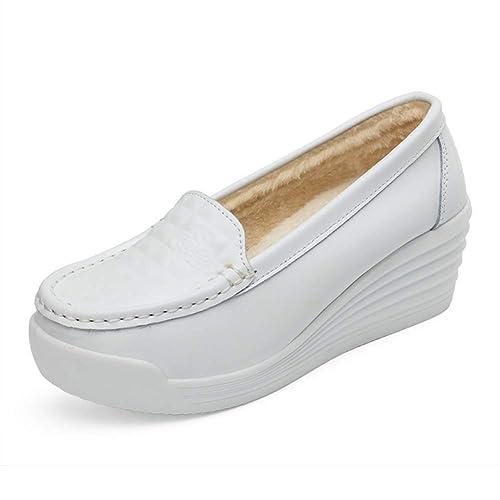 Zapatos De Mujer Zapatos De Enfermera Zapatillas De Deporte Zapatillas Damas Pisos Corta De Invierno Cuero De Split Slip-On CuñAs Ocasionales Plataforma ...