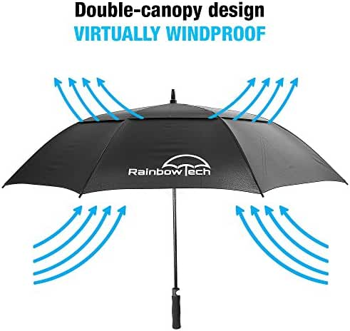 RainbowTech 62 Inch Large Windproof Golf Umbrella with Vented Double Canopy made with Durable Fiberglass and Auto-Open Mechanism