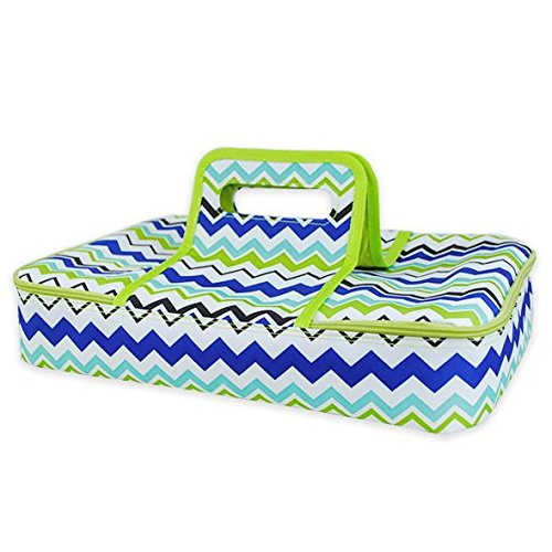 DII Insulated Casserole Carrier, Perfect for Holidays, BBQ's, Potlucks, Parties, To Go Lunches, Craft/Dish Storage & Monogramming - Chevron Blue/Green
