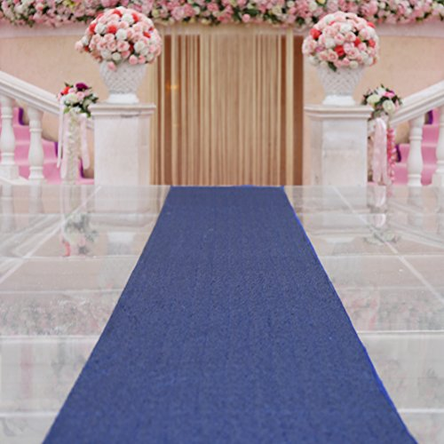TRLYC Navy Marriage Ceremony Runner Wedding Sequin Aisle Runner-24Inch by 15FT