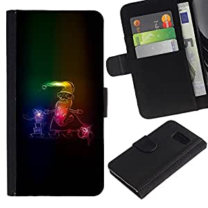 KingStore / Leather Etui en cuir / Samsung Galaxy S6 / Neon Papá Noel Invierno trineo de Navidad