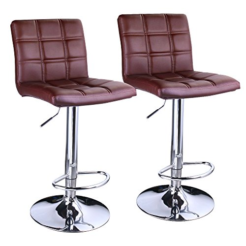 Leopard Square Back Adjustable Bar Stools,Leather Padded with Back,Set of 2,Brown