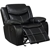 HOMES: Inside + Out IDF-6981-CH Barto Glider Living Room Recliner, Black