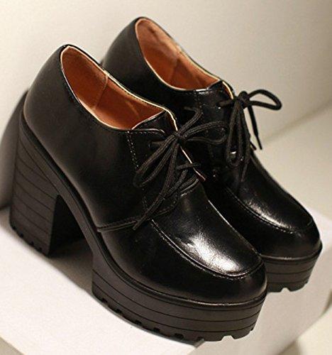 54abaf563640 IDIFU Women s Classic High Chunky Heels Platform Oxfords Boots Lace Up  Short Booties Black 7 B