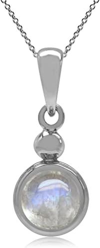 Silvershake 6mm Natural Moonstone 925 Sterling Silver Pendant with 18 Inch Chain Necklace
