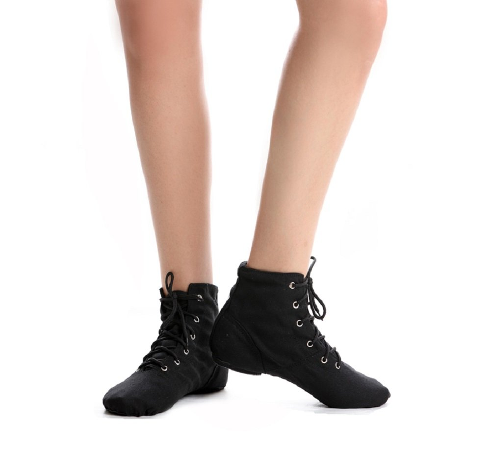 NLeahershoe Lace-up Canvas Dance Shoes Flat Jazz Boots for Practice, Suitable for Both Men and Women (9/43, Black)