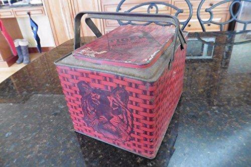 Vintage Tiger Chewing Tobacco Lunch Pail Tin P. Lorillard Co. NJ Picnic basket (Metalware Tin)