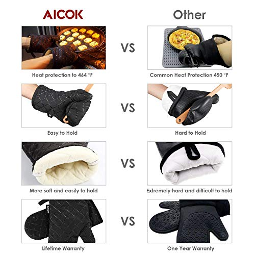 AICOK Oven Mitts, Heat Resistant Oven Gloves, Non-Slip Cooking Gloves, for BBQ, Baking, Barbecue Potholder, Black by AICOK (Image #4)