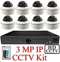 USG 3MP IP CCTV Kit: 1x 16 Ch @ 3MP NVR + 8x 3MP IP PoE 2.8-12mm Dome Cameras + 1x 3TB HDD *** Ultra High Definition Video Surveillance For Your Home or Business!