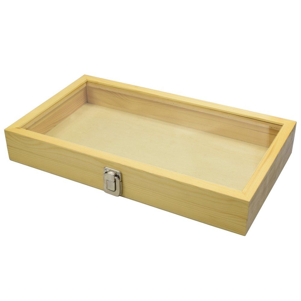 Mooca Natural Wood Tempered Glass Top Lid Jewelry Showcase Display Case Natual 8