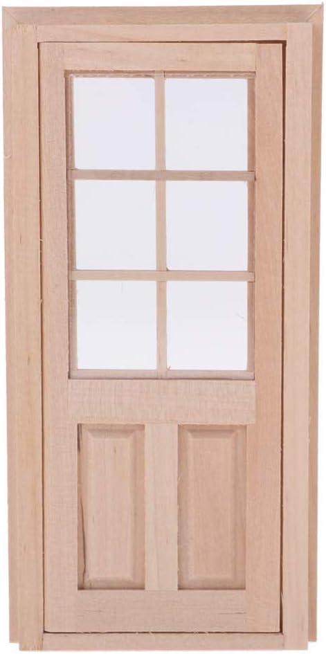 ypypiaol 1//12 en Bois 6 Panneaux Unique Porte Cadre Mod/èle Miniature Maison De Poup/ée DIY D/écoration Cadeau 1#