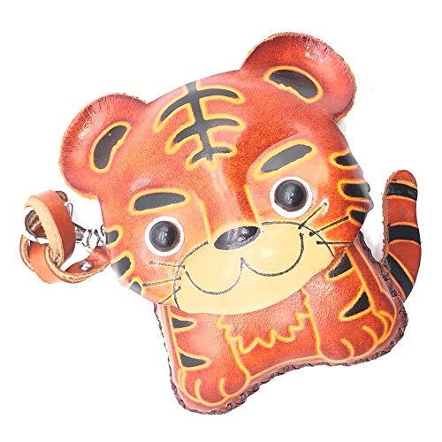 Clutch Tiger (Elechen Genuine Leather Coin Purse Zippered closure Handcrafted Change Pouch Purse Wrist Clutch-Tiger)