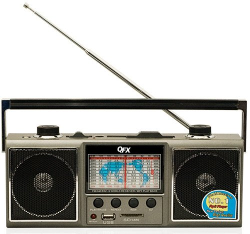 QFX J-114U AM/FM/SW 1-9 World Receiver with USB/SD Port