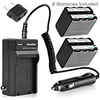 Kastar NP-F970 Battery (2-Pack) and Charger Kit for Sony NP-F975, NP-F960, NP-F950 and Sony L Type Camcorder DCR-VX2100, FDR-AX1, HDR-AX2000, HDR-FX7, HDR-FX1000, HVR-V1U, NEX-FS100U, NEX-FS700U...