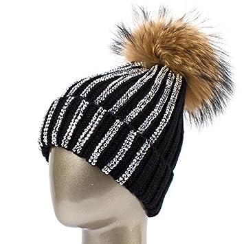 7b03c3f3413 QETUOAD Women s Rhinestones Beanie Hat Winter Warm Acrylic Knitted Beanies  with Pomladies Knitting Skullies Caps