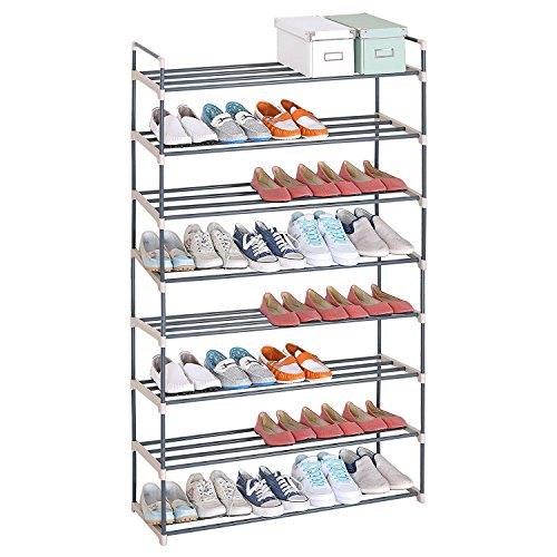 WOLTU Portable Shoe Rack Organizer 8-Tiers Holds 48 Pairs Shoes Storage Utility Tower Stackable Shelves Grey (Where To Buy Closet Organizer)