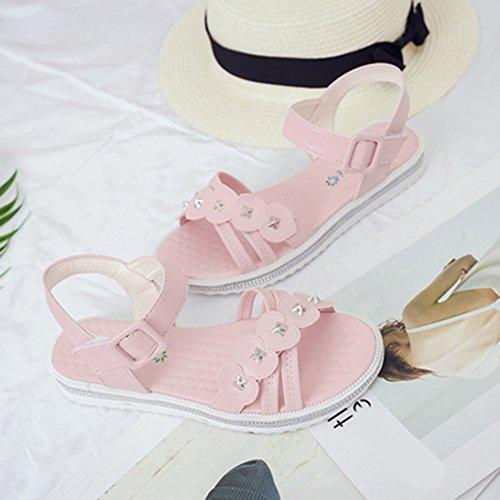 Scothen Las mujeres de las sandalias romanas Sandalias Sandalias de cuña tirón del verano zapatos planos del estilo de Bohemia diamantes de imitación Roman del tobillo Trenzado T-Correa sandalias Pink