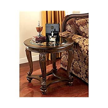 Image of Home and Kitchen Signature Design by Ashley - Norcastle Traditional Round End Table, Dark Brown