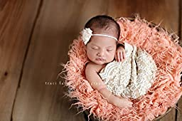 Hypoallergenic & Washable Peach Sheep Faux Fur Newborn Photo Props, Artificial Fur, Newborn Baby Photography Props, Basket Stuffer Blanket - Baby Girl, Curly Fur Prop