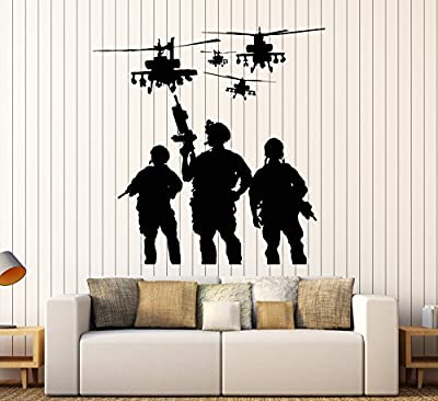 Vinyl Wall Decal Soldiers Helicopters Military War Stickers Mural Large Decor (ig3801)