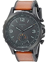 Q Men's Nate Stainless Steel and Leather Hybrid Smartwatch, Color: Black, Brown (Model: FTW1114)