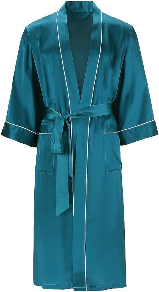 LilySilk Men Silk Robe Long Kimono Style Half Sleeve Loose 100% Mulberry Silk Luxury Piping Loungewear