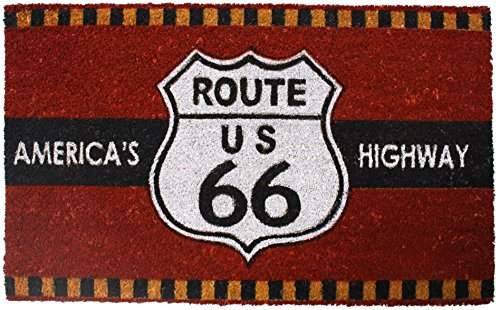 J&M Home Fashions Highway Route 66 Vinyl Back Coco Doormat, 18 by 30