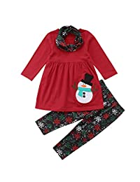 Theshy Toddler Kids Baby Girls Long Sleeve Snowman Print Tops Pants Christmas Outfits