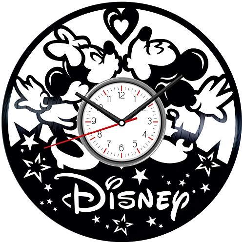 (Mickey & Minnie Mouse Black Vinyl Clock - Vintage Room Kitchen Bedroom Decor - Vinyl Record Gift Idea For Birthday Christmas Hanukkah - Unique Vintage Wall Art - Personalized Home Decoration - 12 Inch)