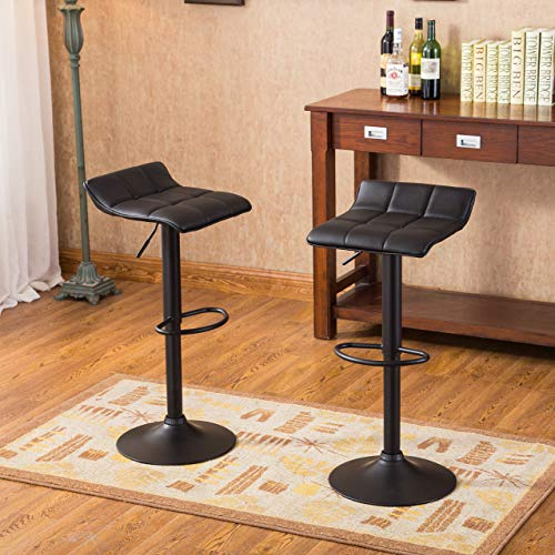 (Roundhill Furniture Belham Swivel Black Bonded Leather Adjustable bar Stool. Set of 2)