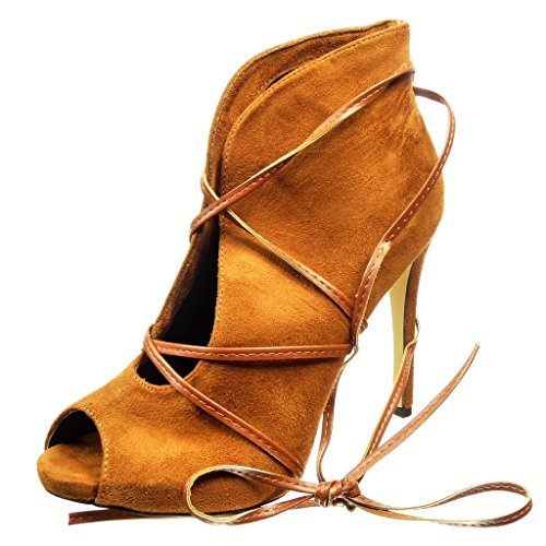 Donna Tacco Sexy Angkorly Cm Aperto Cammello 10 Stivaletti Alto Moda Scarpe Scarponcini Stiletto Tanga xwnFqYRf