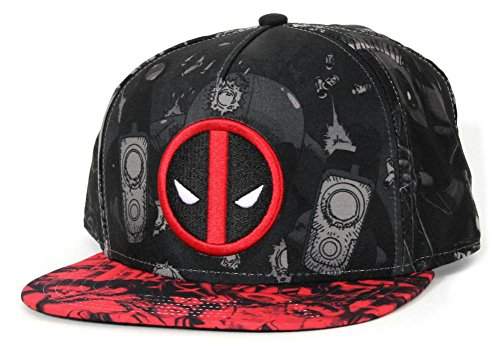 Deadpool- Allover Print Snapback Hat 1 x 1in