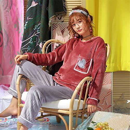 Mujer Domicilio Traje Otoño De Grueso L Lindo Piezas Larga Casual Coral Franela Servicio Baijuxing A Camisón Invierno Polar Suelto Manga 2 Pijamas Pantalones E qwEExCRU
