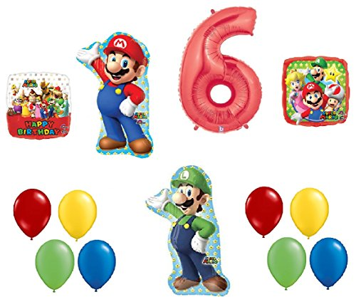 #6 6th Birthday Super Mario Brothers Mega 13 Piece Foil Mylar and Latex Balloons Party Decoration Set