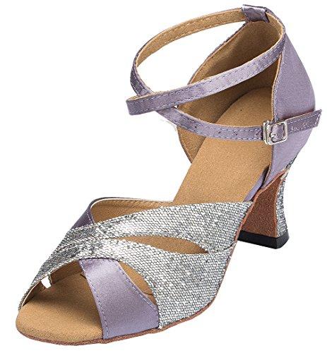 L120 Womens Heel Kitten Satin Latin Shoes Ballroom Professional YYC Dance Tango CFP Purple ZBwUpq
