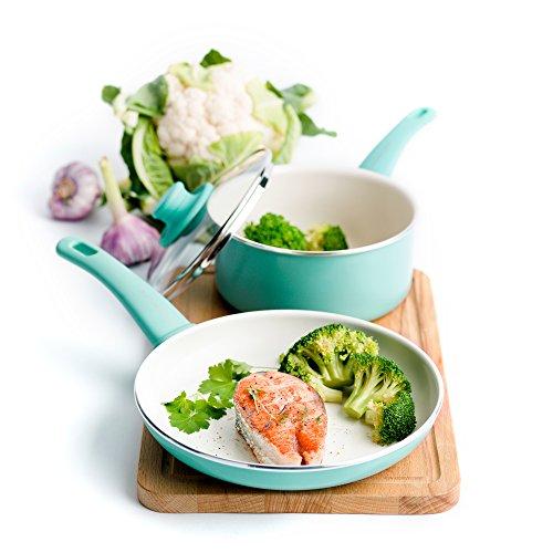 GreenLife CC000884-001 Soft Grip Ceramic Non-Stick Cookware, 4pc Set, Turquoise