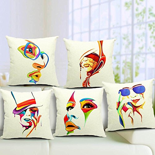 Aart Abstract printed Cushion (Set of 5) by Aart Store
