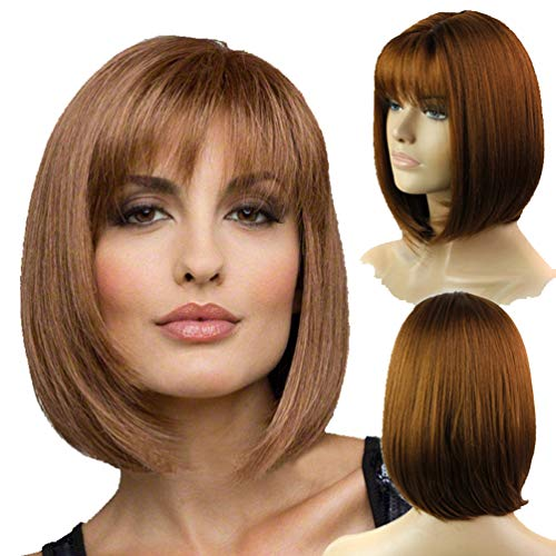 Short Straight Bob Wigs for Women with Bangs No Lace Straight Synthetic Wig Sugar Brown Wig for Daily Dress Cosplay Party Natural as Real Hair+ Free Wig Cap 12Inches Heat Resistant