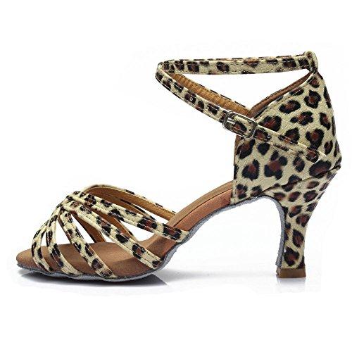 Hroyl Donne Scarpe Da Ballo Latino Satin Ballroom Model-213 Leopard