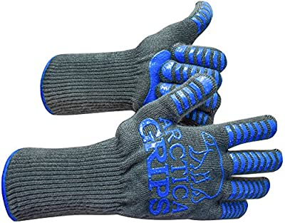 "ARCTICA GRIPS Grilling Gloves - 932°F Heat Rated,Cut,Fire Resistant Gloves 100% Kevlar/Aramid 1 Pair - 14"" Extra Long for Maximum Protection"