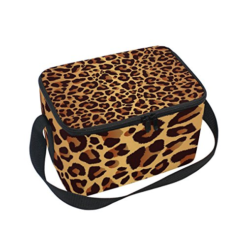 Use4 Leopard Print Bright Animal Skin Insulated Lunch Bag Tote Bag Cooler Lunchbox for Picnic School Women Men Kids by ALAZA