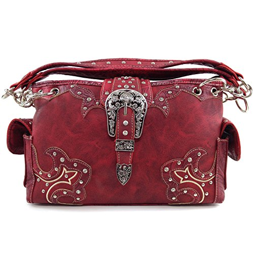 Handbag Studded Concealed Leather Tooled Red Messenger West Rhinestone Purse Handbag Buckle Carry Body Cross Justin wXPBq1Y5