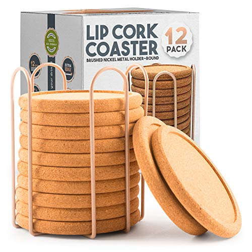 Lip Cork Coasters with Gold Holder   Absorbent