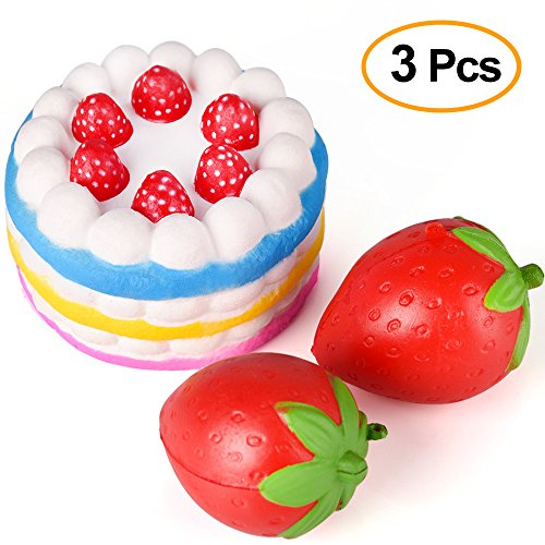 KUUQA 3 Pcs Squishies Slow Rising Jumbo Rainbow Squishy Cake and Strawberry Fruit Charms Squishy Toys Stress Relief Toys Party Favors ( Colour Random)